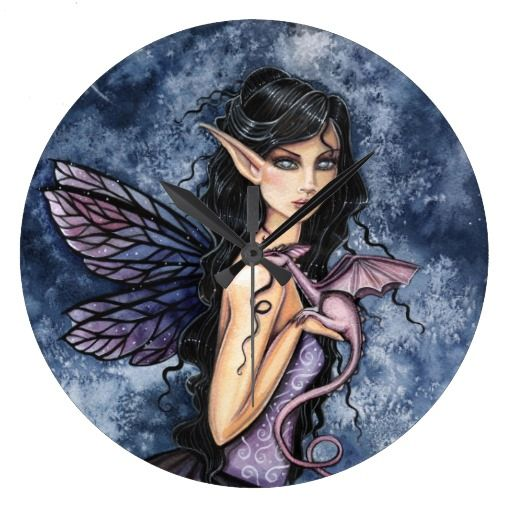 Amethyst Dragon Purple Fairy Fantasy Art Clocks