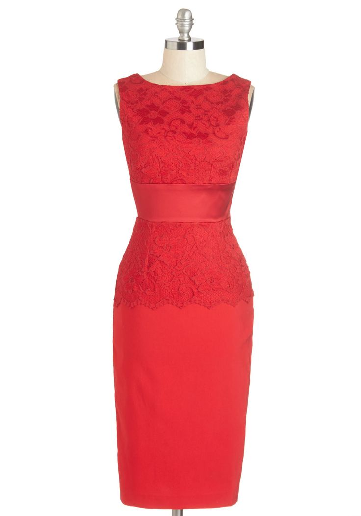 The Best is Fête to Come Dress. Now that youve found this scarlet party dress, you're keen to flaunt its lacy silhouette and silky, bow-adorned waistband! #red #modcloth