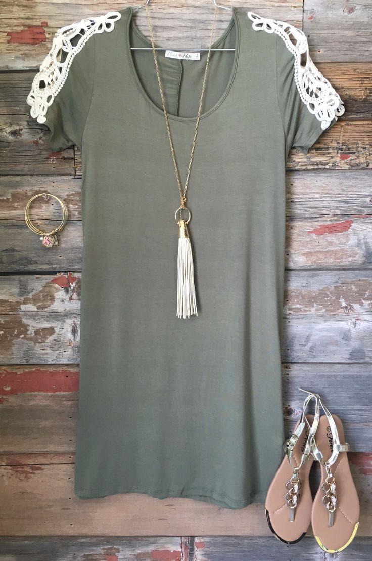 Walking thru the Garden Tunic Dress: Heather Olive from privityboutique