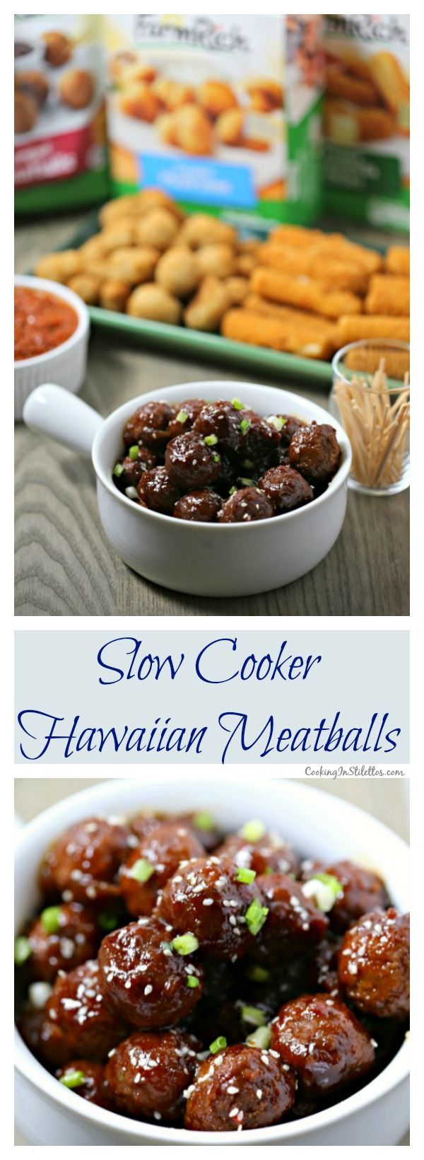 Slow Cooker Hawaiian Meatballs from CookingInStilettos.com are spicy, sweet and packed with flavor. With just a few pantry ingredients and @farmrichsnacks Meatballs straight from the freezer and you can make these scrumptious meatballs in a flash. It's entertaining made easy! #20MinutesToTasty AD