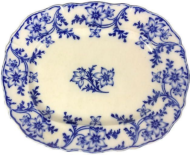 One Kings Lane Vintage Large English Minton Platter Flow Blue Vintage Pottery Platters