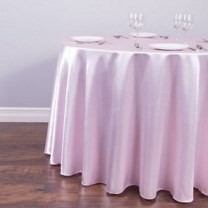 108 in. Round Satin Tablecloth Light Pink