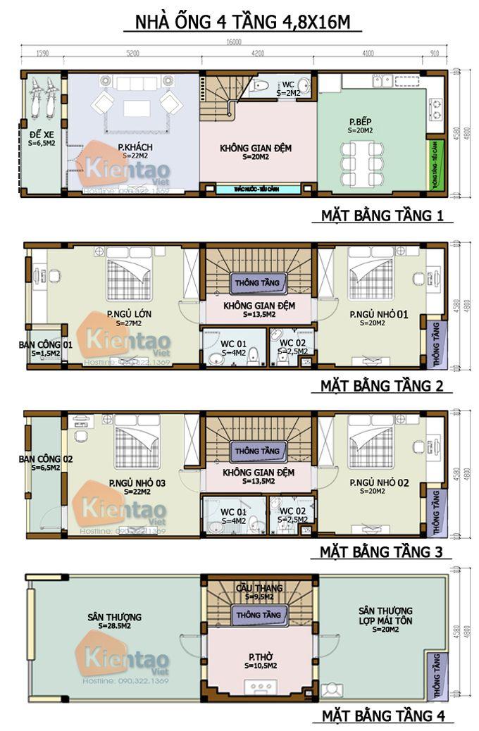 Thiết kế kiến trúc, Nhà ống 4 tầng 4,8x16m, Cách phân bổ công năng nhà ống 4 tầng 4,8x16m, nhà đẹp