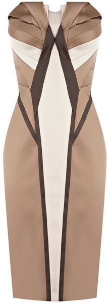 Karen Millen Signature Satin Dress in  (multi-coloured)
