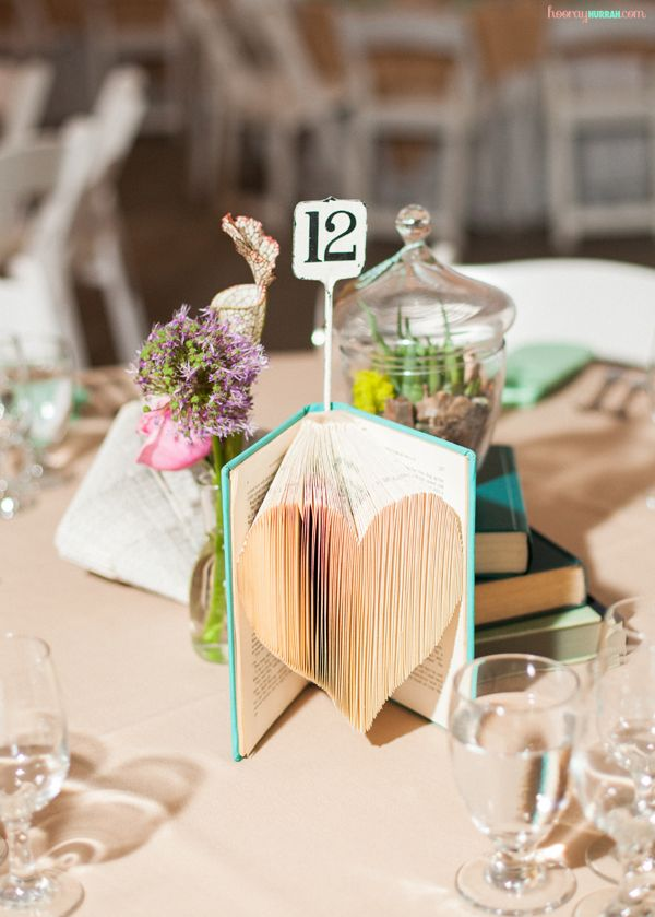 "folded-books-diy-wedding-decor-heart-centerpiece-2. ""hooryhurrah"" website"