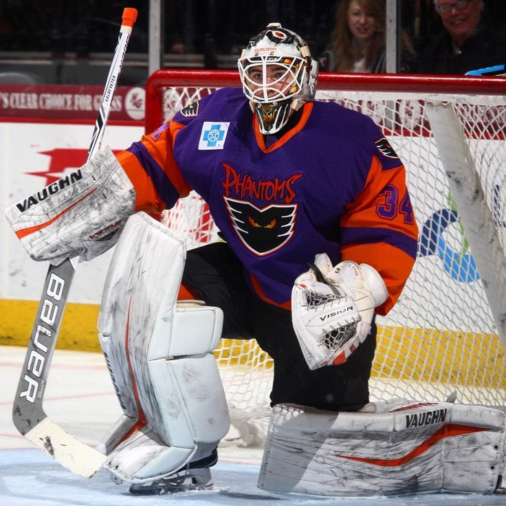 Lehigh Valley Phantoms goaltender Alex Lyon made 28 saves on 29 shots in his first game back in net for the Phantoms since December 1.  The win raised his record to 9-6-1 on the season.  #LehighValley #Phantoms #AHL #LehighValleyPhantoms #LVPhantoms #IceHockey #Hockey #Saves #Purple #Goalie #Goaltender #RetroJerseys #Jersey #Orange #Philadelphia #PhiladelphiaFlyers #Flyers #PhiladelphiaPhantoms