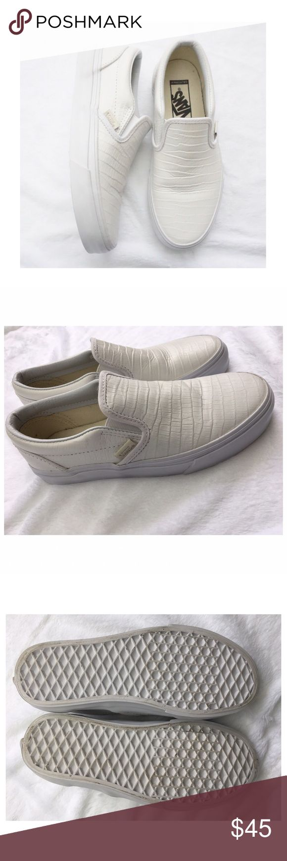 Off-White Faux Leather Vans Slip-on Shoes Listing includes 1 item: size 6 off-white faux leather vans slipon shoes. It has a faux snake skin pattern on the shoes. Worn once, but still in great condition! Does not include vans box. Smoke free home. No trades. Vans Shoes Sneakers
