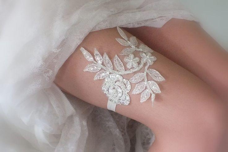 jarretières ivoire de la dentelle jarretelles, jarretières de mariage, jarretière appoint, Jarretière : Autres accessoires par weddingstore