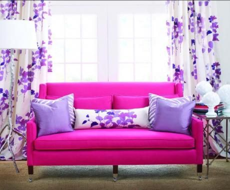 YES...it's a slipcover!: Pantone Colors, Decor Ideas, Shades Of Purple, 2014 Colors, Pink Sofas, Hot Pink, Purple Living Rooms, Girls Rooms, Fine Furniture