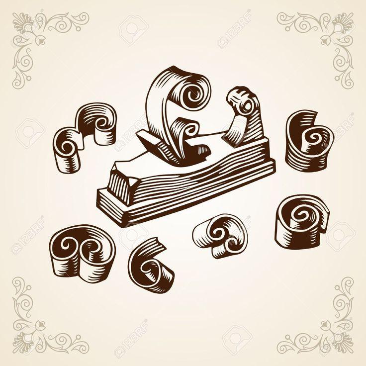 Antiguo marco plano ilustraciones vectoriales clip art - Cepillo de carpintero ...