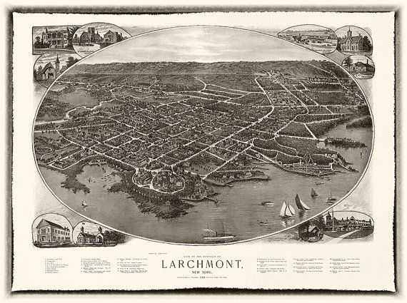 Larchmont Westchester County New York NY. Map. by RetroPrintmaker