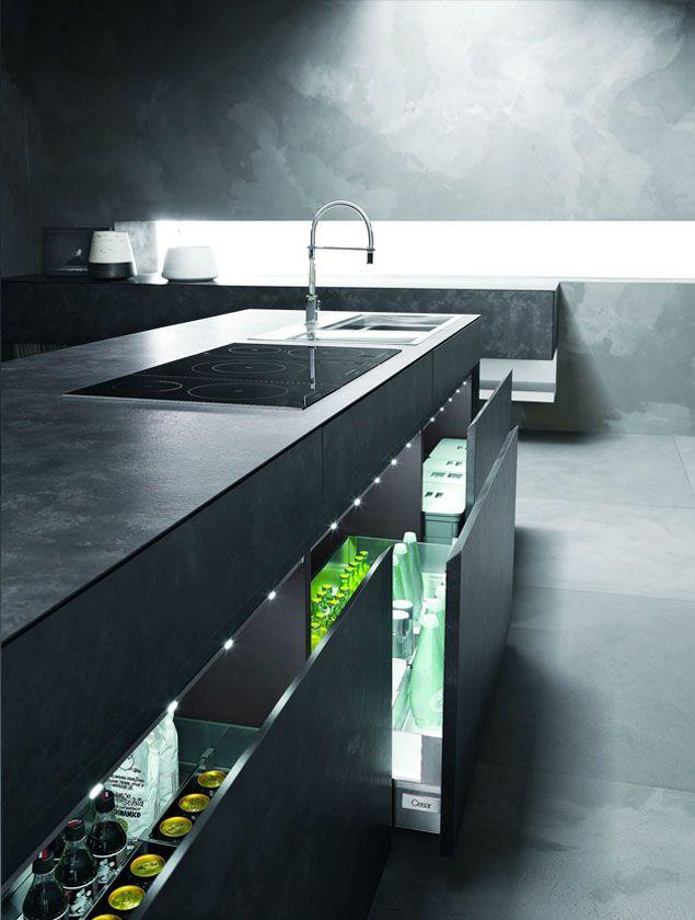 Contemporary Kitchen Design-refrigerator storage drawers