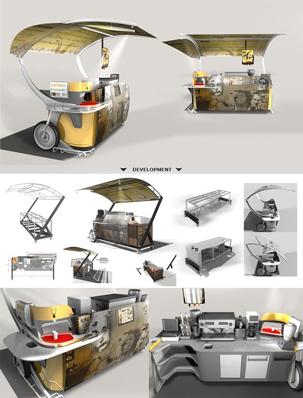 Research, concept design and development of a themed mobile coffee-cart for a restaurant chain. The cart's design optimizes workflow, maximizes storage space, increases safety/security and keeps weight at a minimum.