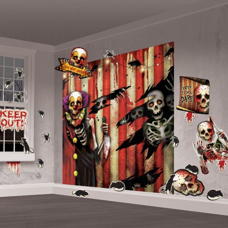 Creepy Carnival Scene Setter Wall Decorating Kit - Pk 32 - AZ PARTY