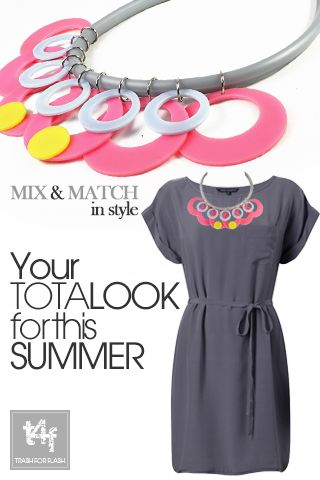 MIX & MATCH IN STYLE WITH T4F JEWELLERY!  Going smart ? Dress it up & Spice it up with a unique fashion necklace. 'Smart' can be forward and so can you!      ( Dress by #frenchconnection  – Necklace by #trash4flash )  #‎springsummer2013‬ #fashionjewellery #fashionnecklace #smartlook