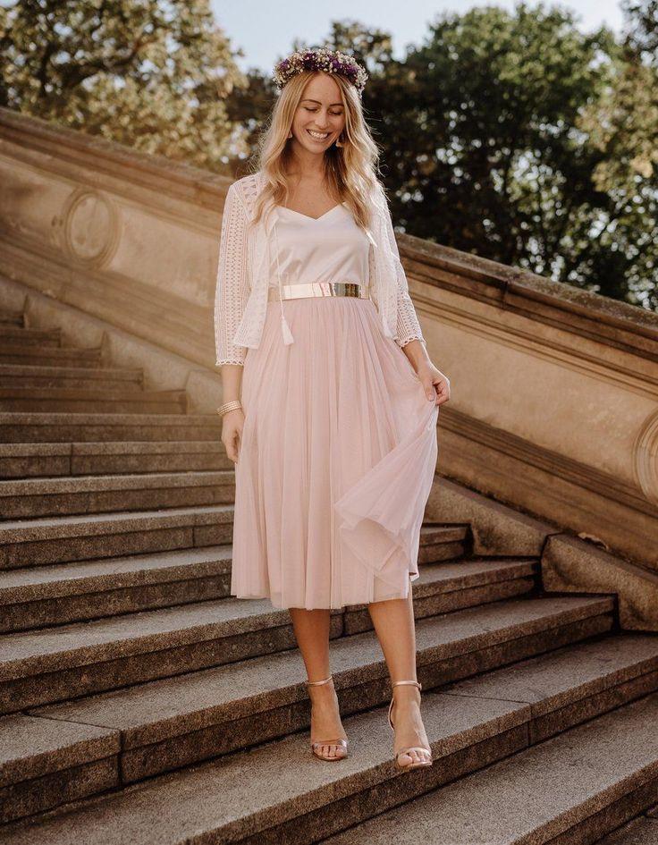 CONSTANT LOVE Tüllrock Midi Soft-Rose | Kleid standesamt