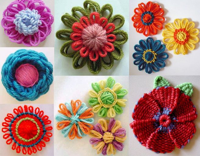 Flower Looms - Tutorial : http://www.knitting-and.com/small-looms/index.html