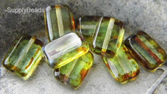 Olivine Rectangle Beads Czech Beads Beads sbp.t5050 by SupplyBeads