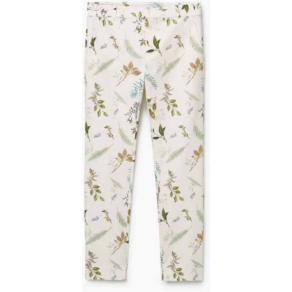 MANGO Printed Cotton Trousers (1,150 MXN) ❤ liked on Polyvore featuring pants, mango pants, white trousers, cotton trousers, mango trousers and white pants