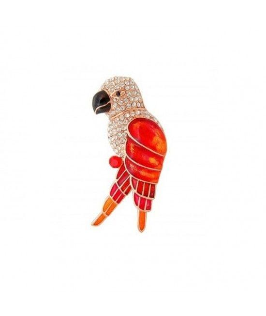 Este o brosa placata cu aur de 18k, de culoare sampaniei fine, decorata cu mici cristale colorate. Ilustreaza un papagal colorat, cu un design elegant.Brosa aceasta adauga o nota de culoare tinutelor!