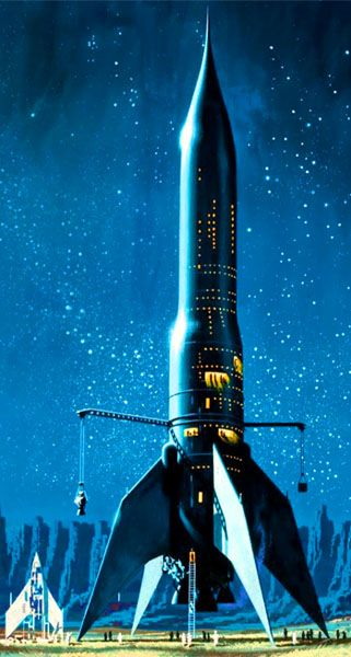 """The RS 10 from Star Born by Andre Norton, 1957. Artwork by Dean Ellis. A """"proper spaceship""""."""