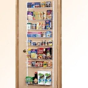 Pantry Door Rack $29.95 I have one of these, but mine hangs over the door so no need for making holes in the door. I have had it for many years and I love it..