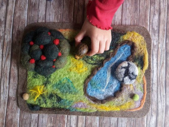 Waldorf toy play mat with felted mouse felted play scape ecological toys for kids by Claudia Nanni Fine Art on Etsy #Waldorf #toys #handmade #kids #Christmas #unique #mouse #felt #art #miniature #berries