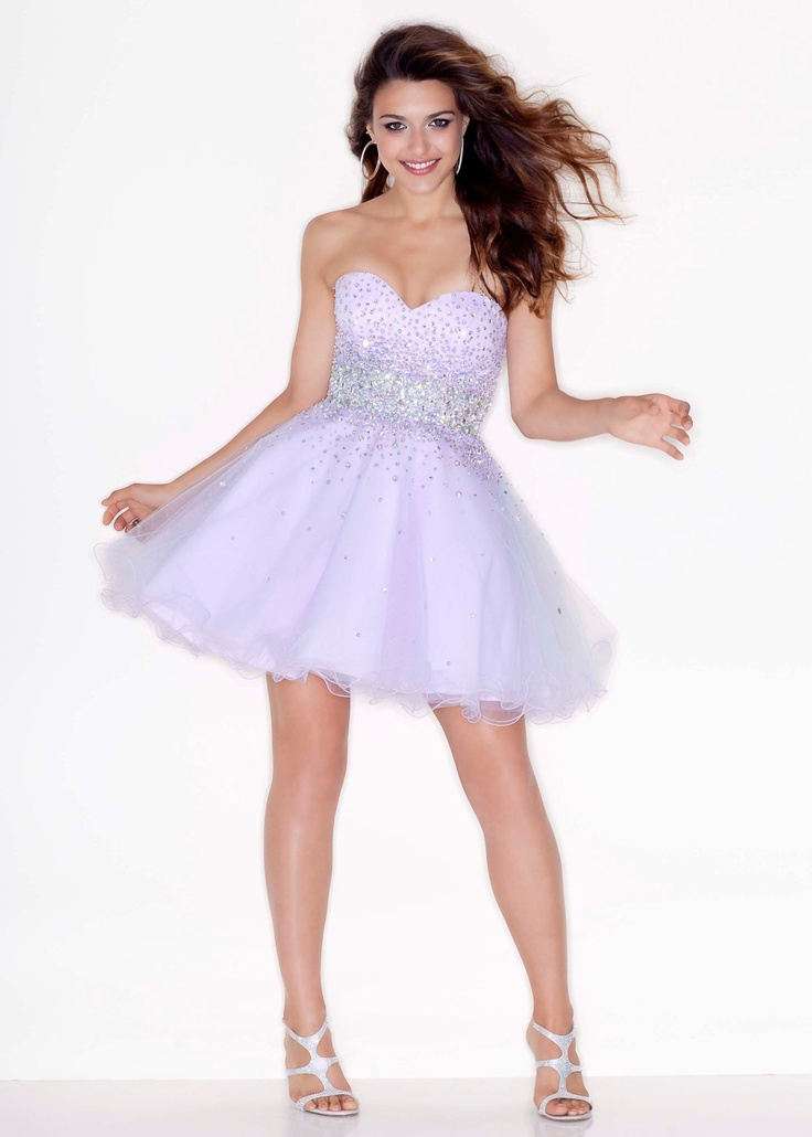 CUTE Light Purple Beaded Short Prom Dress - Sticks & Stones by Mori Lee 9210 - RissyRoos.com