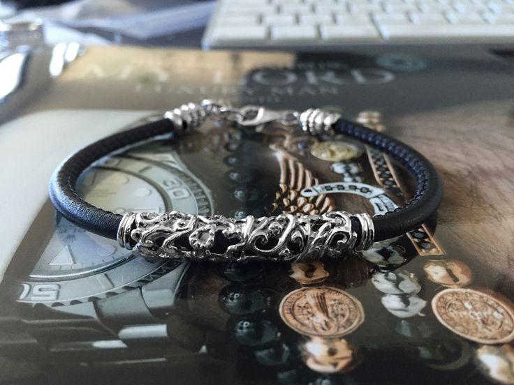bracciale luxury uomo damasco argento e pelle made in Tuscany Italy designed Alessandro Magrino