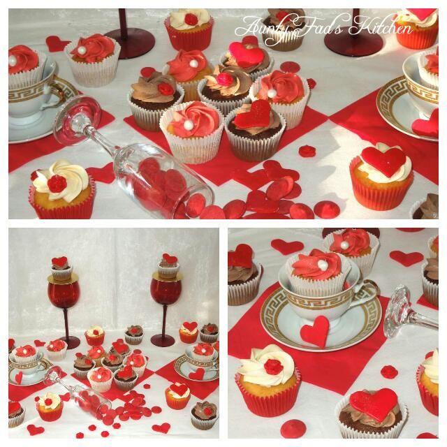 Valentine's Day wedding cupcake display