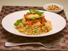 Hoisin chicken on fried Rice | Low Fat | Quick 15 min after work recipe