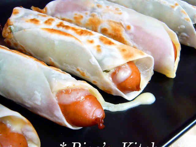 大葉チーズin餃子の皮巻き巻きソーセージの画像