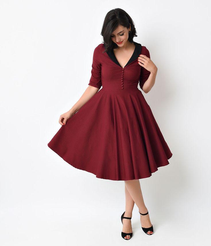 Unique Vintage 1950s Burgundy & Black Sleeved Eva Marie Swing Dress