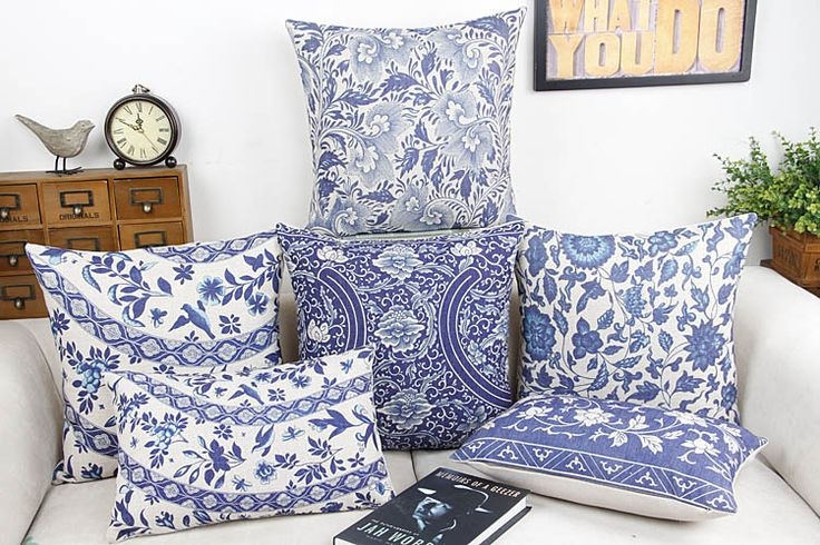 Cheap pillow height, Buy Quality pillow textile directly from China pillow holder Suppliers: Blue and white China Flower Home Decor Pillow Cushion /Decorative Linen cotton sofa cushions /Car throw pillows