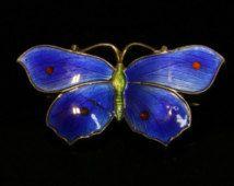 Spilla a farfalla antico smalto vittoriano con smalto blu bella dettaglio