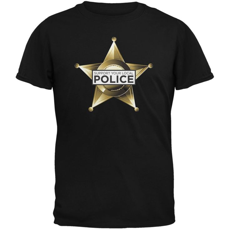 Support Your Local Police Star Badge Red Adult T-Shirt