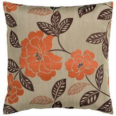 """Surya 18"""" Square Gray Sage Floral Throw Pillow - Style # V3057"""