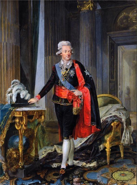 painted between 1778-1792, GUSTAV III by NIKLAS LAFRENSEN (1737-1807). the king is wearing the national costume.