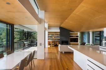 Doors on both sides of the living area make it easy to move through the home