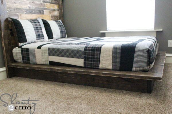 Easy DIY Platform Bed Platform-Bed-Plans...This is a VERY EASY piece to build so it is perfect if you are a beginner! Here's how I built it! This plan is for a full size bed but it is very easy to adjust the measurements to accommodate another size :)