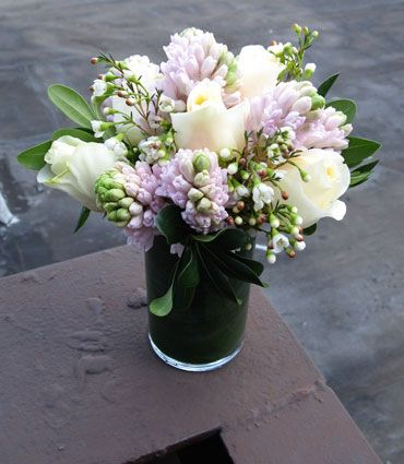 Dreaming of spring with the beautiful #pastels in this bouquet! #roses #hyacinths