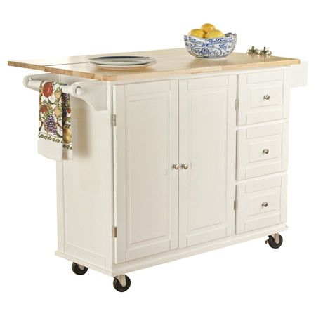 Wood-topped kitchen cart with castered feet and built-in towel and spice racks.   Product: Kitchen cartConstruction...