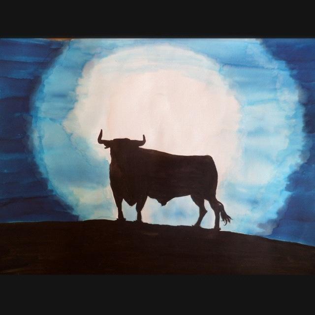 El toro y la luna (realisé par Julian Rodriguez) #Peinture #Tauromaquia #Pintura #Toros #Taurino