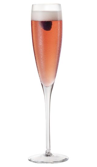 Chambord® Royale  15 mL Chambord Liqueur  Champagne  Add Chambord to bottom of a flute and top with Champagne. Garnish with a raspberry.
