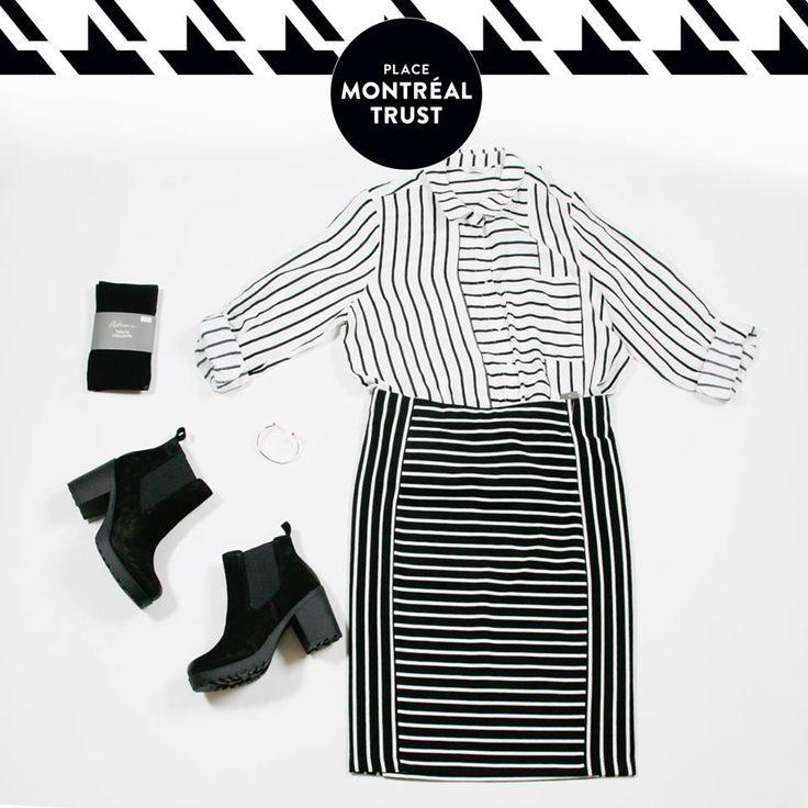 #PMTLook  Osez les #rayures sur rayures. Sortez du lot avec #Reitmans !  Jupe, chemise, collants, bracelet - Reitmans. Bottes - Little Burgundy Shoes. #OOTD #Monday #Look #Shopping #Mtl #PMT