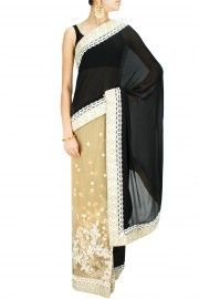 Black and beige hand embroidered sari with black blouse piece