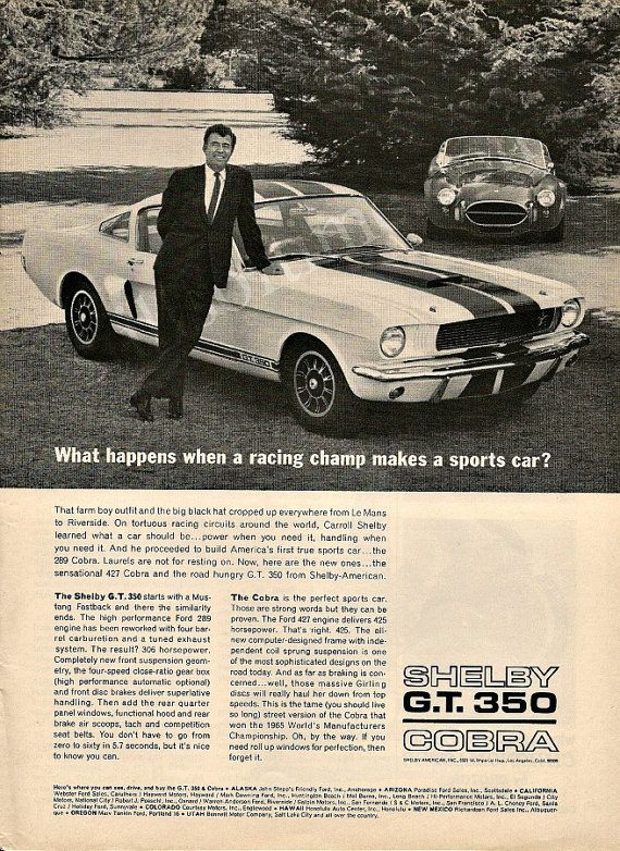 "CARROLL SHELBY Cobra 427 & GT 350 1966 Ad ""Racing Champ Makes A Sports Car""…"