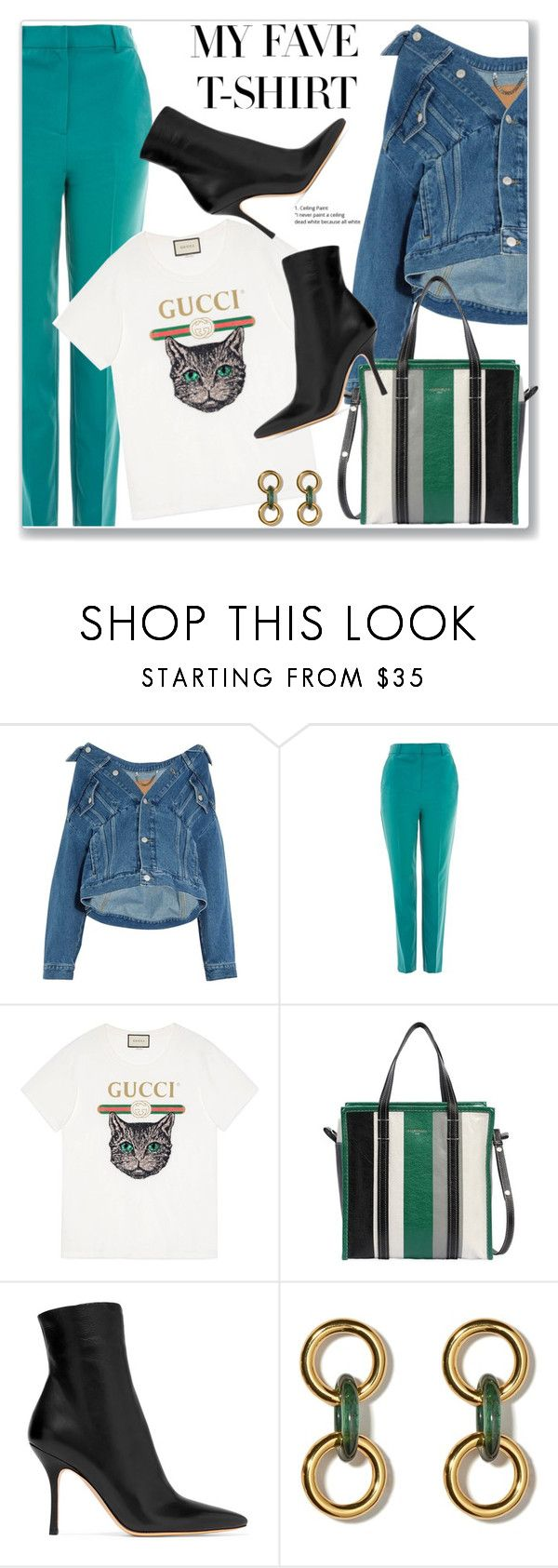 """""""Dress Up a T-Shirt"""" by lula-l ❤ liked on Polyvore featuring Balenciaga, Topshop, Gucci, The Row and MyFaveTshirt"""