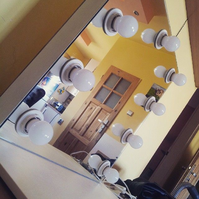 First of the kind :) Modern makeup mirror (frame and holder of pine wood) and light bulbs directly in mirror tile. ZAP project production :)  Find us on facebook -> https://www.facebook.com/ZAPprojectGroup/ Check out our store too http://zapproject.pl/