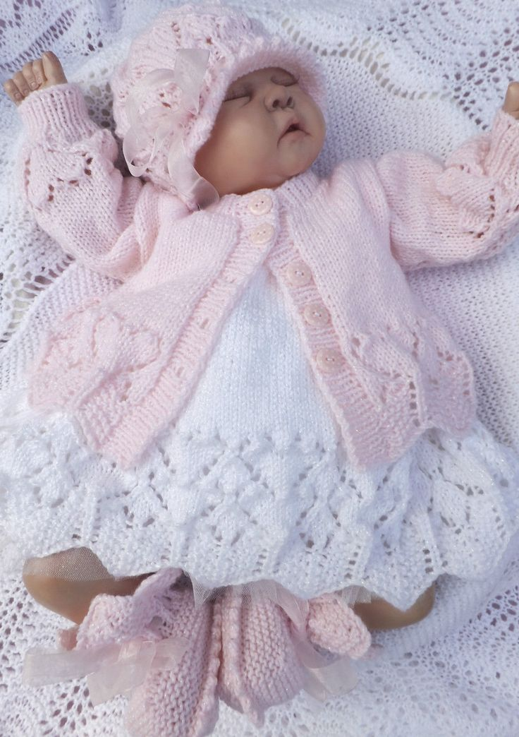 Knitting Patterns Of Baby Sets : Details about KNITTING PATTERN TO MAKE **VALENTINA** GORGEOUS MATINEE SETS FO...